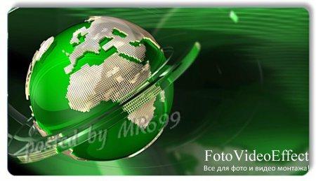 Футаж: Вращение зеленого глобуса...