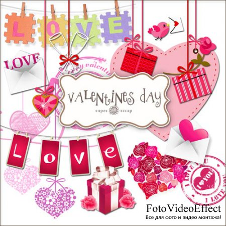 Scrap-kit - Valentines Day Set Elements
