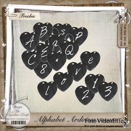 Scrap-kit - Alphabet Ardoises Coeur