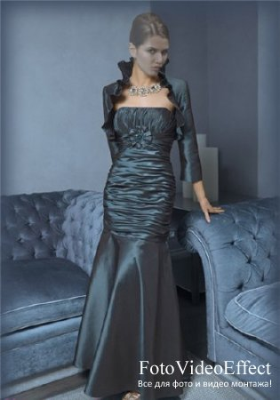 Женский шаблон для фотошопа - Девушка в голубом платье