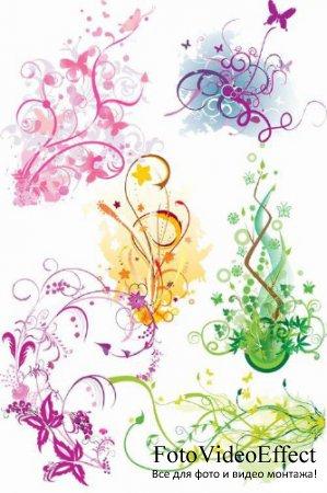Векторный клипарт - Цветочный микс