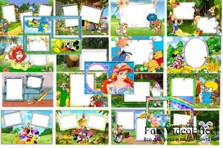 Набор детских рамок для фотошоп – Мультипликационные герои