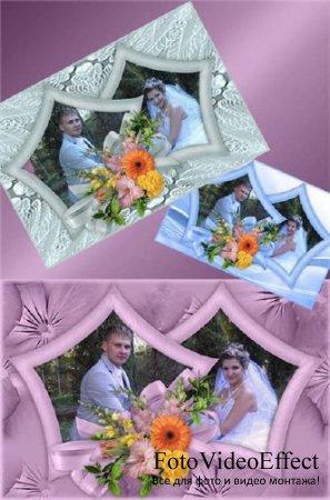 Цветочная рамка для Фотошопа в трех цветах