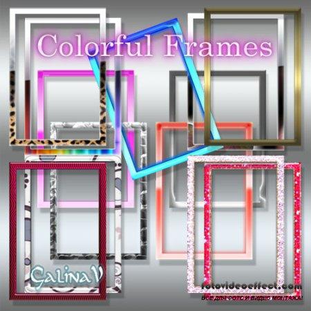 Яркие цветные рамки-вырезы для фото