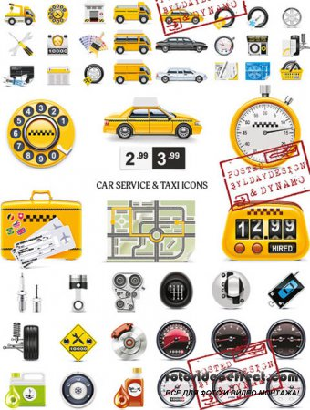 Stock Vectors - Car service & taxi icons