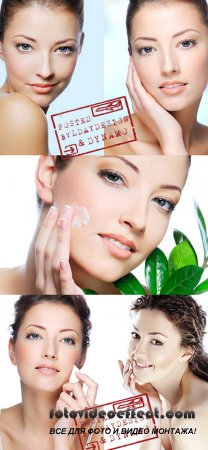 Stock Photo - Fresh beautiful woman face & Natural cosmetology (isolated on white)