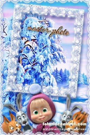 Рамка новогодняя детская для фотошопа Маша