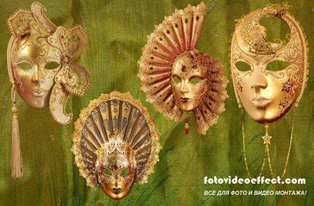 Клипарт - Золотые карнавальные маски