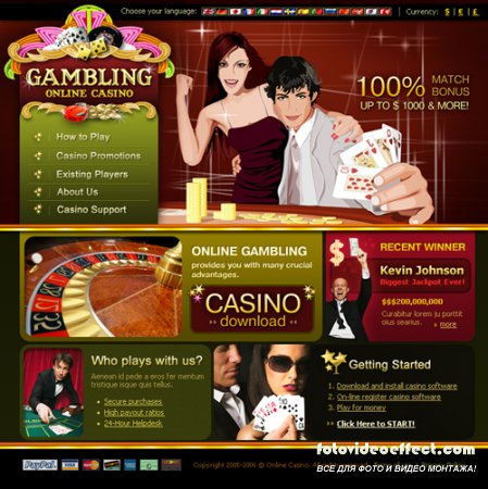Flash website templates Casino Europe