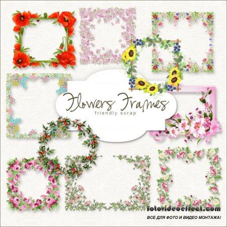 Scrap-kit - Spring Flowers Cluster Frames