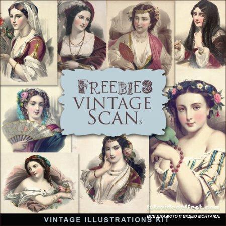 Scrap-kit - Vintage Woman Illustrations #2