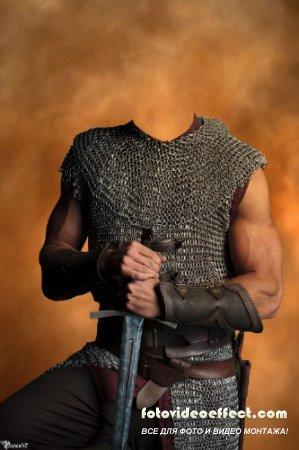 Шаблон для фотомонтажа -  с мечом в руках