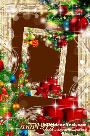 Рамка для фотошопа – Блеск новогодних красок