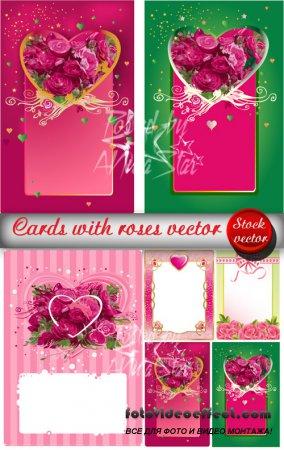 Cards vector  Открытки с сердцами