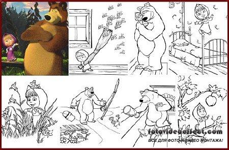 Детская раскраска - Маша и медведь