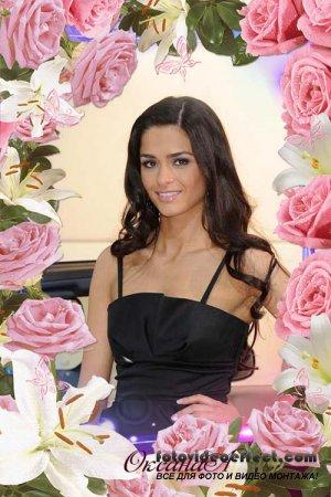 Рамочка для оформления фото – Очарование розовых роз и лилий