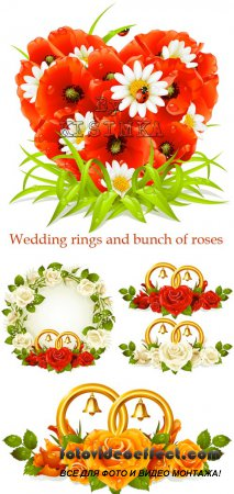Stock: Wedding rings and bunch of roses